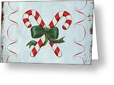 Folk Candy Cane Greeting Card