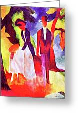 Folks At The Blue Sea By August Macke Greeting Card