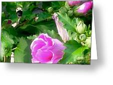 Following A Bumble Bee In Flight Greeting Card