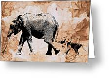 Following Mum - Mother And Baby Elephant Animal Decorative Poster  4 - By Diana Van Greeting Card