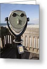 Folly Beach Pay Binoculars Greeting Card