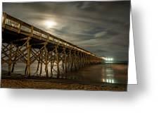 Folly Beach Pier At Full Moon Greeting Card