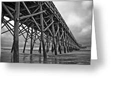 Folly Beach Pier Black And White Greeting Card