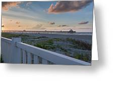Folly Pier Sunrise Greeting Card