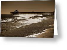 Folly Pier Sunset Greeting Card