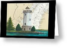 Fon Du Lac Lighthouse Wi Nautical Chart Map Map Greeting Card
