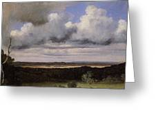 Fontainebleau Storm Over The Plains Jean-baptiste-camille Corot Greeting Card
