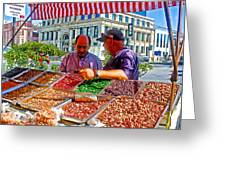 Food Booth In Valparaiso Square-chile Greeting Card