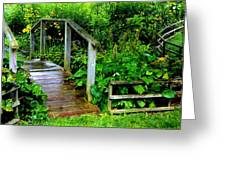 Foot Bridge And Fence Greeting Card