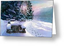 Foot Prints On Snow-port Moody Greeting Card