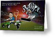 Football Derby Rams Against Ipswich Tractor Boys Greeting Card