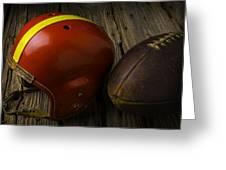 Football Helmet And Football Greeting Card
