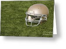 Football Helmet On Artificial Turf Greeting Card