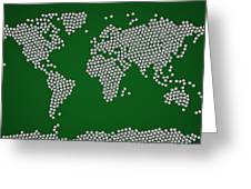 Football Soccer Balls World Map Greeting Card by Michael Tompsett