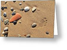 Footprint On Sand Greeting Card