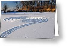 Footprint Snow Ring On A Frozen River In Winter At The Toronto I Greeting Card