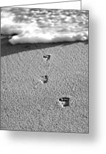 Footprints In The Sand Black And White Greeting Card