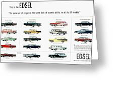 Ford Auto/edsel Ad, 1957 Greeting Card