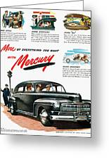 Ford Mercury Ad, 1946 Greeting Card