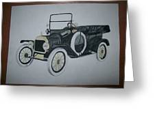 Ford Modl T 1a Original Watercolor Painting By Pigatopia Greeting Card