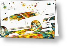 Ford Mustang Paint Splatter Greeting Card
