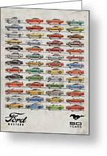 Ford Mustang Timeline History 50 Years Greeting Card