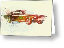 Ford Mustang Watercolor Greeting Card