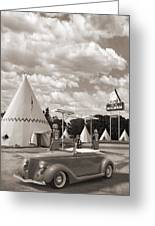 Ford Roadster At An Indian Gas Station Sepia Greeting Card