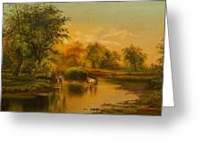 Fording The Stream Greeting Card