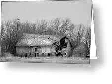 Forest Avenue Barn Bw Greeting Card