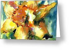 Forest Daffodil In Rain Greeting Card