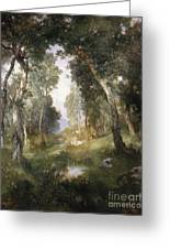 Forest Glade Greeting Card by Thomas Moran