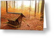 Forest In Autumn With Feed Rack Greeting Card