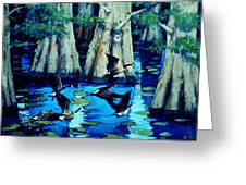 Forest In Water Greeting Card