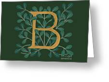 Forest Leaves Letter B Greeting Card