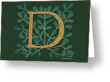 Forest Leaves Letter D Greeting Card