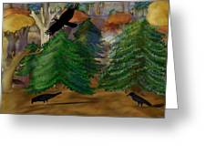 Forest Of Crows Greeting Card