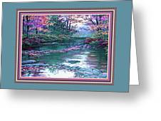 Forest River Scene. L B With Alt. Decorative Ornate Printed Frame. No. 1 Greeting Card