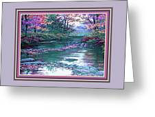 Forest River Scene. L B With Decorative Ornate Printed Frame. Greeting Card