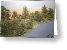 Forest Sunrise Beach Greeting Card