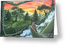 Forest Sunset Cascade Greeting Card