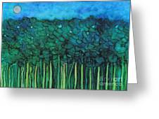 Forest Under The Full Moon - Abstract Greeting Card