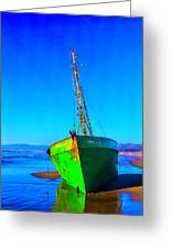 Forgotten Green Boat Greeting Card