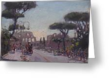 Fori Romani - Street To Colosseo Greeting Card
