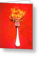 Forking Hot Food Greeting Card
