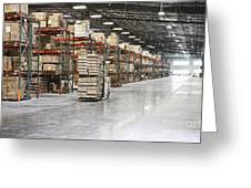 Forklift Moving Product In A Warehouse Greeting Card