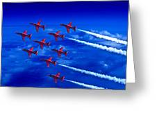 Formation Flying Britains Red Arrows Greeting Card