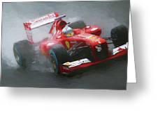 Formula One Burning The Track Greeting Card