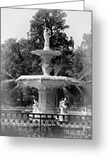 Forsyth Park Fountain Black And White With Vignette Greeting Card