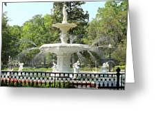 Forsyth Park Fountain Square Greeting Card